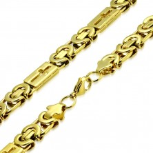 Steel glossy chain of gold colour - byzant design, Latin crosses