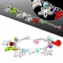 Bracelet with pendants - flower contours, twisted beads with roses, artificial pearls