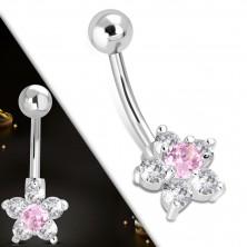 Steel belly piercing - ball, pink-clear zircon flower