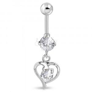 Stainless steel belly piercing - heart ribbon with glittery zircon