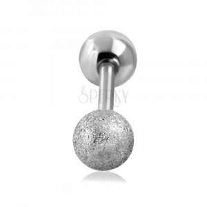 Tragus ear piercing made of steel - smooth sanding ball of silver colour, 16 mm