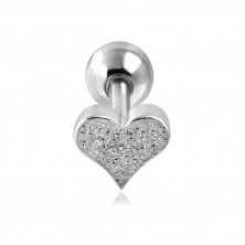 Steel ear piercing - sand heart and ball in silver colour