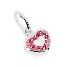 925 silver pendant - symmetric heart and glittery zircon contour