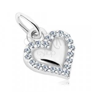 925 silver pendant - glossy heart, contour of transparent zircons