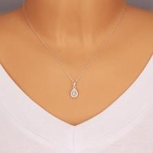 925 silver pendant - glittery drop with zircon contour