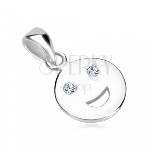 925 silver pendant - glossy smile icon with glittery zircon eyes