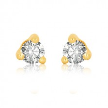 Yellow 9K gold earrings - clear round zircon in triangle mount