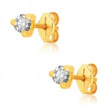 Yellow 9K gold earrings - clear round zircon in triangle mount