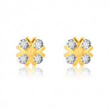 Yellow 375 gold earrings - zircon flower with glossy v-lines and ball, studs