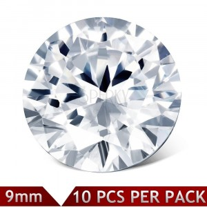 Set of spare round zircons of clear colour, 9 mm