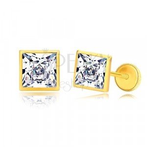 Yellow 585 gold earrings - glittery zircon square in glossy holder, 6 mm
