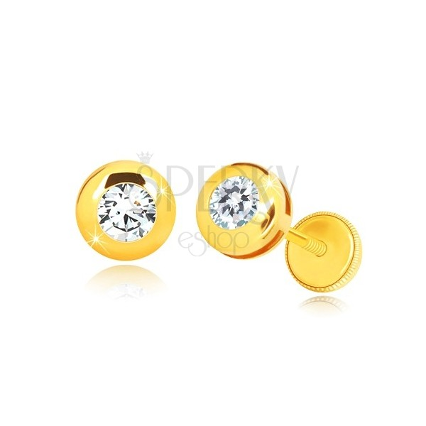 Yello 14K gold earrings - glossy circle with clear round zircon, screw back earrings