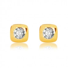 Yellow 9K gold earrings - glossy square with round edges and zircon