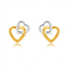 Combined 9K gold earrings - heart contours interconnected together, studs