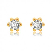 Yellow 375 gold earrings - glittery zircon of clear colour gripped with six sticks, 5 mm
