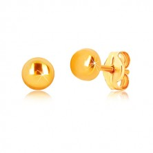 Yellow 9K gold earrings - circle with glossy surface, studs