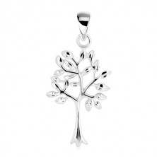 Pendant - life tree, narrow trunk with branched tree-top, 925 silver