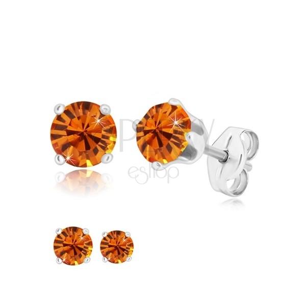 925 silver earrings - round glittery zircon in honey-orange hue