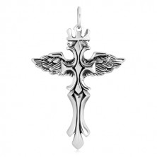925 silver pendant - phoenix with royal crown and cross, patinated
