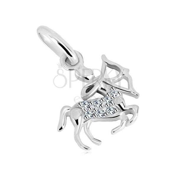 925 silver pendant - Centaur with long-bow and zircons, zodiac sign SAGITTARIUS