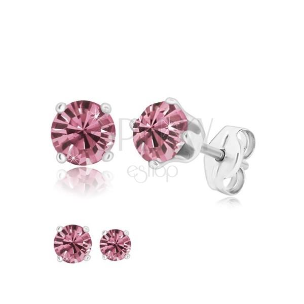 925 silver earrings - glittery round zircon in mount, tanzanite colour, studs