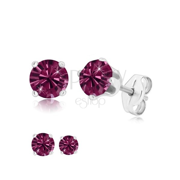 925 silver earrings - glittery zircon of purple colour gripped with four prongs