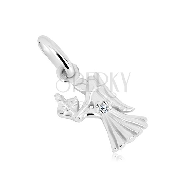 925 silver pendant - girl with wings and ear of wheat, zodiac sign VIRGO