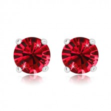 925 silver earrings - glittery round zircon in mount, ruby red hue