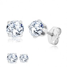 925 silver earrings - round zircon in transparent hue, four prongs