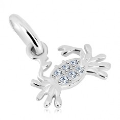 925 silver pendant - crab with clear glittery zircons, zodiac sign CANCER
