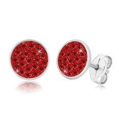 925 silver earrings - glittery circle inlaid with red zircons