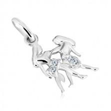925 silver pendant - long hair twins with zircons, zodiac sign GEMINI
