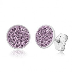 925 silver earrings - glittery circle inlaid with pale purple zircons