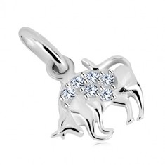 Glossy pendant, 925 silver - glittery zircons of clear colour, zodiac sign Taurus