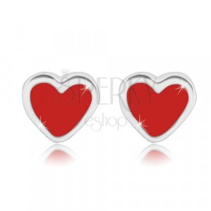 925 silver earrings - symmetric heart with glaze of red colour, studs