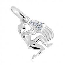 925 silver pendant - glossy figure with pot, zircons, zodiac sign AQUARIUS