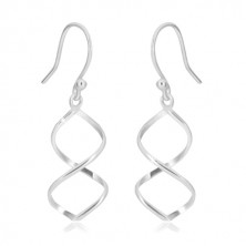 925 silver earrings - two lines intertwined together on Afrohook