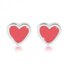Studs - symmetric heart with glaze of pink colour, 925 silver