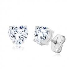 925 silver earrings - glittery zircon heart in transparent hue