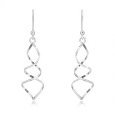 925 silver earrings - glossy spiral, two lines intertwined together