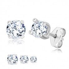 925 silver earrings - round zircon of clear colour in square mount