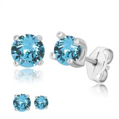 Studs - round zircon of sky-blue colour, square mount, 925 silver