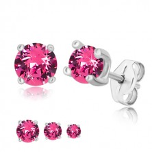 925 silver earrings - round zircon of pink colour in square mount