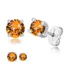 925 silver earrings - round zircon in honey-orange hue, square mount