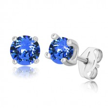 925 silver earrings - sapphire-blue zircon in square mount, studs