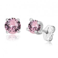 925 silver earrings - round zircon of pale purple hue, square mount