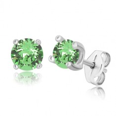 925 silver earrings - round zircon of light green colour in square mount