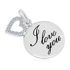 """925 silver pendant - glossy circle with inscription """"I love you"""", heart contour with zircons"""