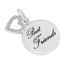 "925 silver pendant - glossy circle, inscription ""Best Friends"", heart contour zircons"