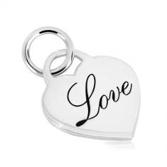 """925 silver pendant - glossy heart lock, decorative inscription """"Love"""""""
